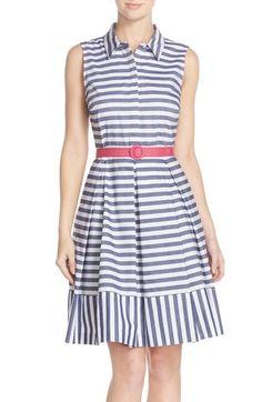 Eliza J Stripe Cotton Fit & Flare Shirtdress