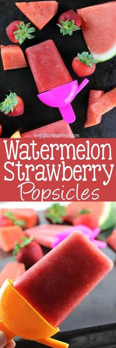 Nothing says summer like a popsicle! Of course nothing says summer more like these Watermelon Strawberry Popsicles! | EverydayMadeFresh.com Köstliche Desserts, Best Dessert Recipes, Frozen Desserts, Frozen Treats, Healthy Desserts, Delicious Desserts, Yummy Food, Summer Desserts, Summer Drinks