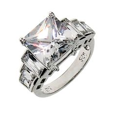 As stairs of diamonds lead to the final shimmering masterpiece, this engagement ring holds hours of sparkling entertainment for any pair of eyes. The three different sizes of baguette stones that line the each side of the central diamond CZ catch stray beams of light and let them slide across their smooth faceted surface. The center stone beams with radiance as it can reflect the most beautiful of lights in the dimmest rooms. The ring has a total carat weight of 7.7 carats to make this ...