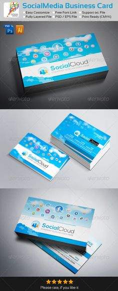"""Social Cloud : Social Media Business Cards Easy to modify, Fully editable & Resizable, CMYK Color, Print Ready, Printing Bleeds, trims and Guidance are included Free fonts links included inside in help file. Size : 3.5""""x2 Inch + Trim Marks If you like, please rate this…"""