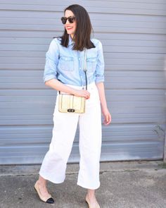 Chambray and White Wide Leg Crop Jeans