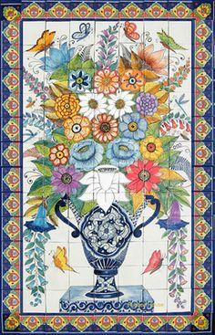 mexican talavera mural tiles