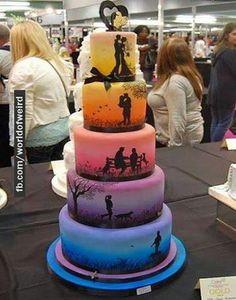 Love story themed wedding cake