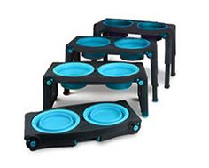 "Elevated feeder specifications are: 2.5 cups / 20 oz. Blue Bowls made of washable rubber and silicone. The feeder dimensions are: 8.5"" x 16.25"" x 1.5""."
