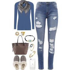 A fashion look from June 2017 by vida2009 featuring UGG, Louis Vuitton, Love Quotes Scarves e Guerreiro