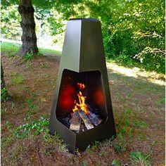"Outdoor Steel Chiminea - 20"" x 45"" in Bronze Finish"