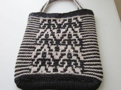 knitted mosaic wool bag