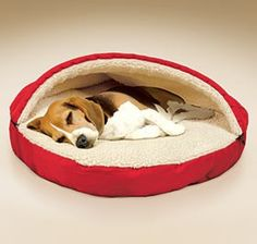 """Pet Cave @ Harriet Carter - Plush Pet cave gives your dog or cat its own personal, private hideaway! Cozy, insulated bed features a raised dome into which your pet can crawl and snuggle. Surrounds your furry friend in luxurious warmth and comfort just like a sleeping bag. The 5"""" thick cushioned pad has an ultra-plush sherpa fleece lining and a removable, machine washable poly/cotton cover."""