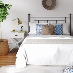Shop for Avenue Greene Jalen Full/ Queen Metal Headboard. Get free delivery On EVERYTHING* Overstock - Your Online Furniture Shop! Oar Decor, Bunk Beds Built In, Black Headboard, Young House Love, Beach House, Backyard Storage, Guest Room, Master Bedroom, Cozy Bedroom