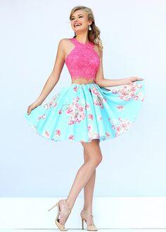 Halter Neck Two Piece Lace Applique Coral Blue Party Dress [Sherri Hill 32245 Coral Blue] - $188.00 : Prom Dresses 2015 On Sale - cheap prom dresses 2015