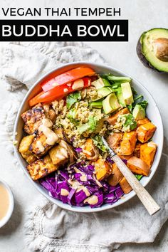 This VEGAN Thai Tempeh Buddha Bowl is packed with flavor! I LOVE this nutritious and superfood power bowl. So many good things happening here! Vegan, gluten-free friendly! | fitmittenkitchen.com | #veganrecipes #meatlessmonday #meatlessmeals #veganbowls #vegandinner #mealprep #glutenfreefriendly #mealpreprecipes #cleaneating #thairecipes #cashewbutter