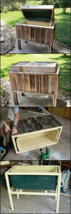 This rustic cooler is far more attractive than the plastic Esky dumped on the ground at parties! http://theownerbuildernetwork.co/n3g2 And, as a bonus, you can stop bending over whenever you want a drink. Waist height is so much more civilized, don't you agree?
