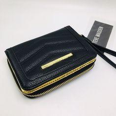 aae595f479da94 Steve Madden chevron wallet clutch ziparound black gold organizer wristlet  | eBay Clutch Wallet, Steve