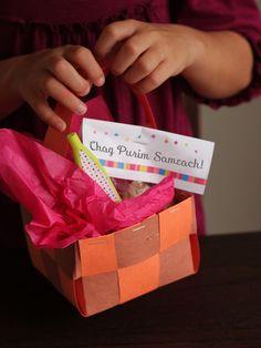 Purim Homemade Woven Basket - DIY for children!