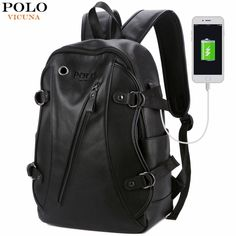 Alena Culian Men Backpack Faux Leather Daypack with USB Charge College Bookbag Travel Backpack * Details can be found by clicking on the image. (This is an affiliate link) Backpacking For Beginners, Backpacking Tips, Men's Backpack, Leather Backpack, School Backpacks, Trendy Backpacks, Travel Luggage, Luggage Bags, Laptop Bag