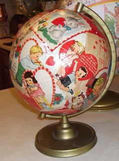 decoupage globes | decoupage globe vintage valentines and globe love makes the world go ...