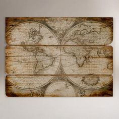 FOR THE HOME: A Wood Wall Map from Cost Plus World Market. I love vintage maps - this wood one would add dimension as well as warmth to a room. $99