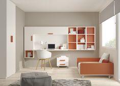 Cama nido, con escritorio, estanterías y armario.