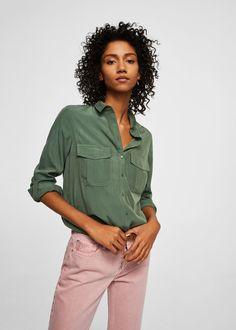 Рубашка с накладными карманами -  Женская | MANGO МАНГО Россия (Российская Федерация)
