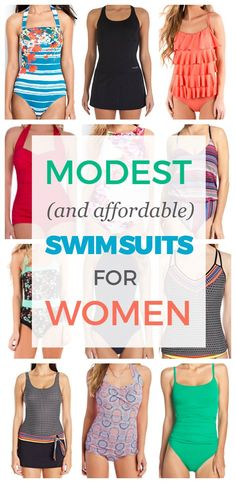 Clothing A big list of modest (and affordable) swim suits for women! Plus Size Bikini Bottoms, Women's Plus Size Swimwear, Curvy Swimwear, Trendy Swimwear, One Piece Swimwear, Summer Swimwear, Affordable Swimsuits, Modest Swimsuits, Women Swimsuits