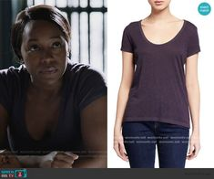 Michaelas purple scoop neck tee on HTGAWM U-Neck Cotton Tee by. Daily Street Looks, How To Get Away, Other Outfits, Cotton Tee, Street Wear, Scoop Neck, T Shirts For Women, Fashion Outfits, Purple