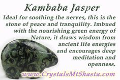 Crystal of the day - Kambaba Jasper Soothes nerves, peace, tranquility, nature, meditation, ancient wisdom...