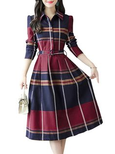 Women's Aline Dress Turn Down Collar High Waist Plaid Dress is comfortable, see other simple casual dress on NewChic Mobile Stylish Dresses For Girls, Simple Dresses, Cute Dresses, Casual Dresses, Cotton Dresses, Kurti Designs Party Wear, Kurta Designs, Girls Fashion Clothes, Fashion Dresses