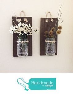 Mason Jar Wall Sconce (SET OF TWO) Hand Crafted Rustic Wall Decor Mason Jar Hanging Vase Reclaimed Wood Wall Sconce Reclaimed Wood Sconces Handmade Wall Planter Shabby Chic Decor from The Appalachian Artisans http://www.amazon.com/dp/B01C06VETW/ref=hnd_sw_r_pi_dp_jOooxb1F16ZVJ #handmadeatamazon