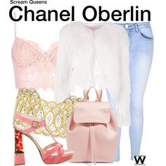 Scream Queens by wearwhatyouwatch on Polyvore featuring Giamba, Glamorous, Dsquared2, Mansur Gavriel, Buccellati, television and wearwhatyouwatch