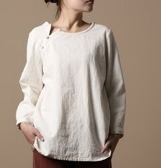 Side Plait Buttons Linen Tunic. via Etsy.
