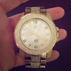Techno Pave Watch Techno Pave stainless steel men's watch. (This is not real gold or real diamonds) Accessories Watches
