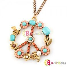 Hot Fashion Anti-war Colorful Peace Sign Flower Power Style Pendant Necklace