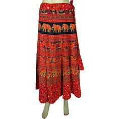 Amazon.com: Hippie Long Wrap Skirts Chilly Red Elephant Peacock Print... ($27) via Polyvore
