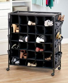 This Mega Fashionable Rolling Shoe Storage has a space-saving design that's perfect for small living quarters. It has 30 cubbies and 12 side pockets that hold u