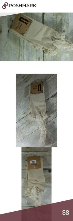 ***3 for $14 New Knee High Lace Tie Top Socks Beige knee high socks with Lace trim and tie.  These are cute and would fit about a 5-9 shoe size. They are made from 95% cotton and 5% spandex  Any questions, please let me know.  Bundles welcome.  Happy Poshing! Icon Collection  Accessories Hosiery & Socks