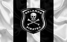 Download wallpapers Orlando Pirates FC, 4k, logo, black and white silk flag, South African football club, emblem, Premier League, Johannesburg, South Africa, football, silk texture Premier League, Liga Premier, Football Mexicano, Orlando Vacation, Sports Wallpapers, Sports Clubs, Hd Picture, Sports Logo, Black And White