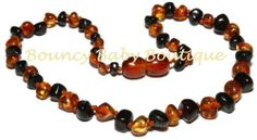 Baltic Amber Teething Necklace - Baroque Dark Cherry & Honey by Bouncy Baby Boutique. $16.99. Baltic Amber Teething Jewelry is designed for wearing NOT CHEWING. Baltic Amber is found in and around the Baltic sea where an ancient species of trees was washed to shore to fossilize and create the unique and healing resin we know as Baltic Amber. What makes Baltic Amber so effective is it's high content of succinic acid. Succinic acid is a natural pain reliever, anti-inflammatory, an...