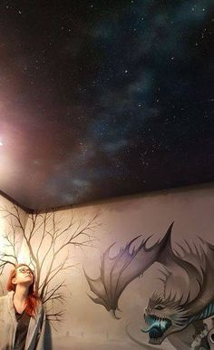 Hand painted gothic graveyard bedroom mural. Dragon and starry night time ceiling detail. The stars and dragons fire glow in the dark!