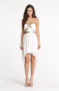 Trixxi Sequin Strapless Goddess Dress (Juniors) | Nordstrom Goddess Dress, Gold Sequins, Chiffon Skirt, Junior Dresses, Nordstrom Dresses, I Love Fashion, Fashion Inspiration, Dress Up, White Dress