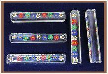 5 Vintage Glass Knife Rests Enamel Made In Czechoslovakia $30