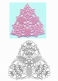 Pretty triangle #crochet pattern with pineapple motifs - chart included. Excellent for collar decoration or bunting.