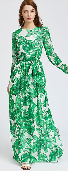 Green Chiffon Maxi Dress Women Palm Leaf Print Casual Beach A-Line Dresses Long Sleeve Tie Waist Elegant Dress Oh just take a look at this! Visit our store Maxis, Chiffon Maxi Dress, Maxi Dress With Sleeves, Maxi Dresses, Long Dresses, Sheath Dress, Sleeve Dresses, Elegant Dresses, Dress Skirt