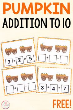 Give your students an engaging, hands-on opportunity to practice their addition facts this fall with these pumpkin addition to 10 cards! A fun pumpkin theme addition activity for kindergarten and first grade. Halloween Activities For Kids, Educational Activities For Kids, Math For Kids, Holiday Activities, Stem Activities, Fun Learning, Early Learning, Kindergarten Stem, Preschool Math