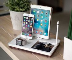 NytStnd TRAY 4 White is the ultimate charging dock for: - iPhone & up including iPhone 8 Plus & X) - iPad (Mini, Air, Pro) - Apple Watch: All Models & - AirPods or Apple TV Remote Gen & - Apple Pencil (Holder Only) SIZE: x See how Wireless works: Apple Tv, Apple Watch Airpods, Apple Ipad, Apple Watch Series 3, Ipad Mini, New Ipad Pro, Ipad Pro 12 9, Apple Pencil Holder, Pencil Apple