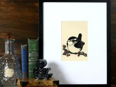 Sweet Carolina Wren  5x5 letterpress linocut by boundstaffpress