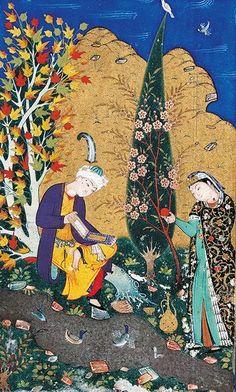 Miniature, Boukhara, Deux amoureux dans un verger en fleurs, Saint-Pétersbourg. © Bridgeman-Giraudon. Art Et Illustration, Illustrations, Mandala Art, Mughal Paintings, Art Asiatique, Persian Motifs, Virtual Art, Iranian Art, National Art