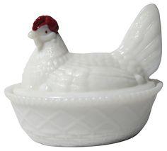 Vintage Country Kitchen - Westmoreland Milk Glass Hen on Nest