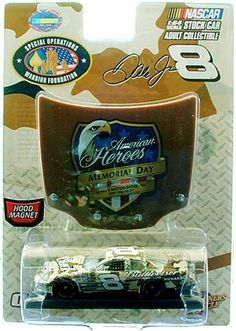 """Dale Earnhardt Jr. #8 Budweiser 2007 Exclusive SOWF Desert Camo 1:64 Diecast Car by Motorsports Authentics, Inc.. $11.88. Adult Collectible 1:64 Scale Diecast Car. Highly Detailed Tampo-Printed Graphics. Wal-Mart Exclusive. 2007 """"Special Operations Warrior Foundation"""" The Memorial Day DESERT CAMO Paint Scheme. Special Limited Edition Packaging. Anheuser-Busch has supported the military for more than 150 years, and Budweiser continues that tradition in 2007 with tw..."""