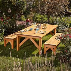 Simple & Sturdy Picnic Set Woodworking Plan from WOOD Magazine Outdoor Furniture Plans, Diy Pallet Furniture, Deck Furniture, Furniture Ideas, Furniture Buyers, Painting Furniture, Furniture Stores, Cheap Furniture, Rustic Furniture