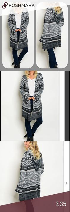 """Hooded Knit Cardigan Sweater Black and gray open hooded cardigan . 100% polyester. Size S/M is on the dress form . 26.5"""" sleeve . About 34.5"""" shoulder to bottom. 18.5"""" armpit to armpit. The size M/L will be bigger. The sizes are S/M and M/L. The size S will be the S/M and the size M will be the M/L. Boutique Sweaters Cardigans"""